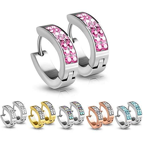 Treuheld®   Silberne Klapp-Creolen/Ohrringe zum Klappen   medizinischer Edelstahl   Kristalle in Pink/Rosa   4mm x 15mm   Set/Paar Ohrstecker