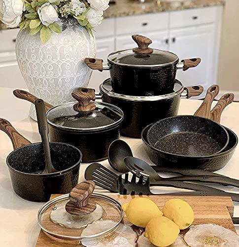 Induction Kitchen Cookware Sets Nonstick - Granite Hammered Pan Set Dishwasher Safe Cooking Pots and Pans Set
