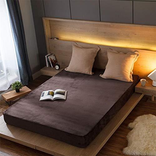 JKCTOPHOME Sábana bajeras Ajustable tamaños y Colores,Protector de colchón cálido de sábana de Color sólido de otoño e Invierno-B_180 * 200 * 25cm,Sábana Ajustable de Vistoso