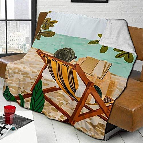 Mantas Travel Vacay Book Club Lifestyle Beach Tumbona Acuarela Mantas De Lana para Sofá De Viaje De Oficina En Casa Cálida Y Cómoda Manta De Tiro Colcha Versátil Súper Suave