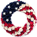 idyllic July 4th Wreath Boxwood Handcrafted Memorial Day Wreath Festival Garland Decoration Front Door Wall Home Decor (Blue)