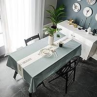 KUIYN テーブルクロス 北欧 撥水加工 汚れ防止 テーブルカバー リネン 長方形 お手入れ簡単 テーブルマット インテリア 多色選べる (北欧 Green01, 135*180 CM)