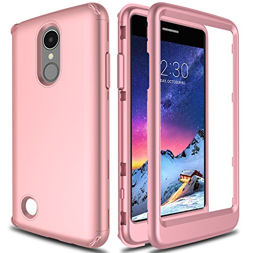 LG Aristo Case, LG Fortune Case, LG Rebel 2 Case L58VL, LG Phoenix 3 Case AMENQ Lightweight 3 in 1 Heavy Duty Absorb Impact Touch Silicone Rubber Smooth PC Protection Cover [Rose Gold] for LG K8 2017