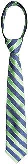 Wembley Boys Boys' Big Pre-Tied Adjustable Zipper Neck Tie, green stripes, One Size