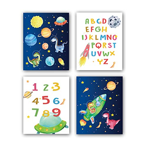 """HPNIUB Outer Space Art Prints, Set of 4 (8""""X10""""),Alphabet Numbers Canvas Posters,Dinosaur Wall Art Planet Rocket UFO Painting for Nursery Kids Bedroom Classroom Decor, No Frames Included"""