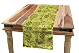 Ambesonne Ethnic Table Runner, Traditional Paisley Oriental Leaves Bohemian Motif Inspirations, Dining Room Kitchen Rectangular Runner, 16' X 72', Lime and Avocado Green