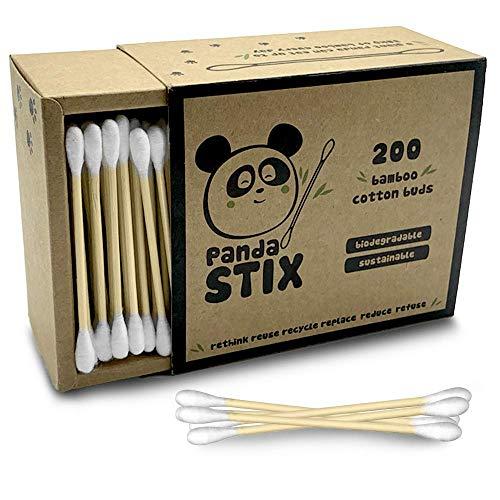 5 paquets Bamboo Cotton Buds avec t/ête de s/écurit/é coton tige pour b/éb/é ou adulte soin quotidien quotidien Eco Box 1000 pi/èces