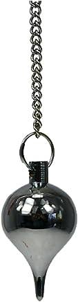 Pendule de radiesthésie - Petite goutte métal chromé et pochette suédine