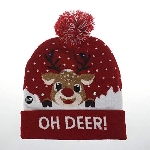 PZGFG kerstmuts met gebreide led-muts voor het jaar, verlicht, warm voor kinderen, volwassenen, kerstdecoratie