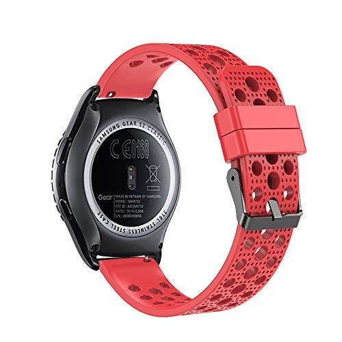 Fit-power - Correa de repuesto para reloj inteligente, de 20 mm, compatible con Samsung Gear Sport, Samsung Gear S2 Classic, Huawei Watch 2 Watch y Garmin Vivoactive 3, Rojo transpirable.