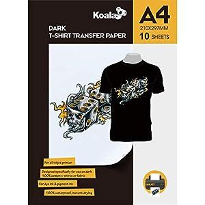 KOALA Papel de transferencia de tinta para camisetas de oscuros, 10 hojas, A4.