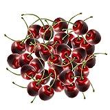 Ciliegie Artificiali Frutta, Ciliege finte Ciliegie artificiali Ciliegie Set per decorazione da tavola Ciotola da frutta 36 pz