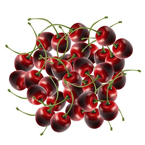 Frutas de Cerezas Artificiales, Cerezas falsas Set de cerezas de Frutas Artificiales para la Decoración de la Mesa Frutera 36 piezas