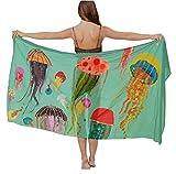 womens Swimwear Cover up Beach Sarong Wrap cartoon under sea ocean Jellyfish Scarf