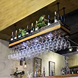 COLiJOL Estantes de Vino de Techo de Altura Ajustable Bar Butler Dispensador de Vino Soporte de Botella de Vino para Bar Kitchen Club Rack
