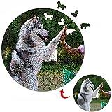 Puzzles Personalizado de Madera Redondo con tu Foto - Forma úNica de Animales DIY 3D Rompecabezas de Imagen Regalo (personalizado)