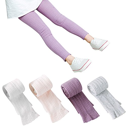 BOOPH 4 Pack Girls Legging Tight Flared Lace Footless Knitted Pant 3-5 Years