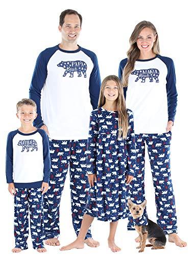 SleepytimePjs Christmas Family Matching Navy and White Bear Fleece Pajamas, Navy Bear Men's - LRG