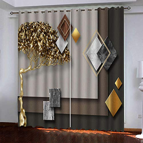MENGBB Blackout Curtain for Kids Girls Microfiber 110x102 inch Three-dimensional geometric golden trees Thermal Insulated 95% Blackout Kitchen Bedroom Living Room Window Eyelet Curtains