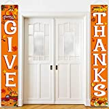 Blulu Fall Harvest Decorative Give Thanks Banners Thanksgiving Party Decorations Autumn Door Sign Pumpkin Turkey Maple Leaf Welcome Porch Sign for Fall Party Backdrop Garden Yard Orange