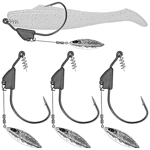 XFISHMAN Underspin-Jig-Heads-Swimbait-Hooks-with-Spinner Blades Weighted Fishing Hooks 6 Pack (Silver, Size 1/0,1/8oz 3.5g, 6-Pack)