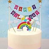 Decoracion tarta cumpleaños set,Cupcake Toppers,Decoraciones de Pasteles de Cumpleaños para Infantiles Niños Niñas con Arcoiris y Globos, Adornos para Fiestas, Bodas, Aniversarios y Baby Shower