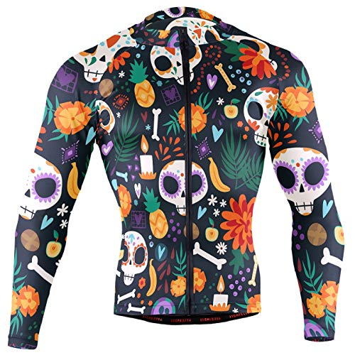 Colorful Dia De Los Muertos Sugar Skulls Seamless On Black Men Cycling Jersey Riding Shirts Long Sleeve Road Bike Outfit Icycle Clothes Quick Dry Motocross Jacket Full Zipper(S)