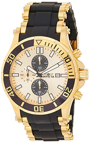 Invicta Men's 1478 Sea Spider Chronograph Gold Dial Black Polyurethane Watch