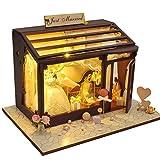 Fiaoen Ardentity Miniatur DIY Puppenstube Holz, Puppenhaus DIY Dollhouse Kit Modell Shop, Kreativ...