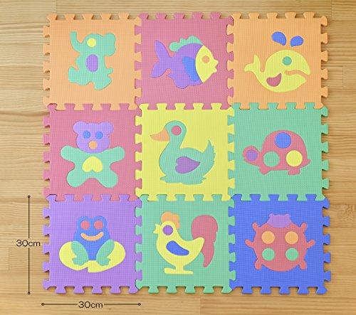 極厚約14mmEVAパズルマット動物シリーズ床暖房対応ノンホルムアルデヒド9枚セット約30x30x厚み1.4cm27-063