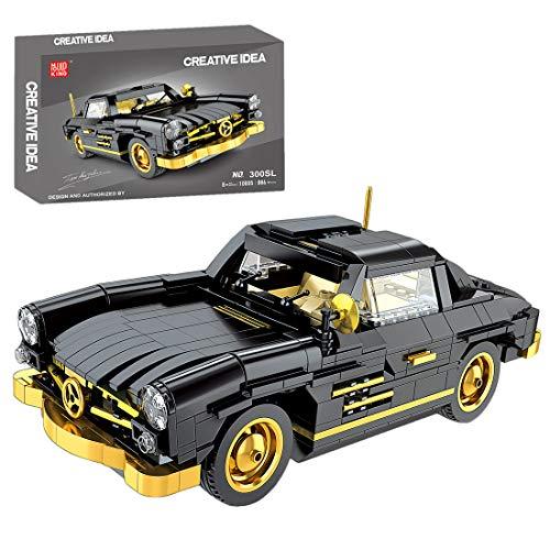 BGOOD Bloques de construcción de coche para 1957 Mercedes 300SL 886 bloques de construcción técnica coche antiguo compatible con la técnica Lego