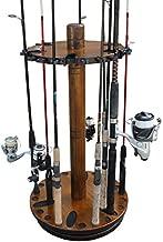 Rush Creek Creations Round Spinning 30 Fishing Rod Rack - No Tool Assembly - 360 Degree Rotation, Dark, Model:38-3006