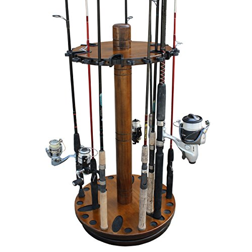 Rush Creek Creations Round Spinning 30 Fishing Rod Rack - No Tool Assembly - 360 Degree Rotation