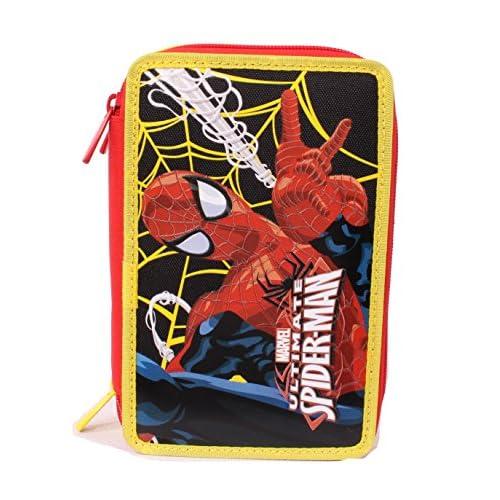 Astuccio per Scuola Spider-man, 3 Scomparti, Poliestere, Multicolore