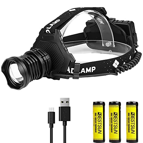 Linterna Frontal LED Recargable XHP70 Linterna Cabeza Alta Potencia Zoomable, LUXNOVAQ 8000 Lumen Luz Frontal Cabeza Impermeable Headlamp USB con 3 Baterías y 5 Modos para Trabajo Acampada Senderismo