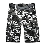 AKARMY Men's Camo Cargo Shorts 11' Inseam,Relaxed Fit Outdoor Summer Shorts Casual Shorts with 8 Pockets DK03 Black White Camo
