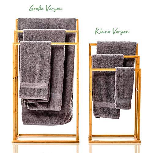 bambuswald© großer Handtuchhalter aus 100% Bambus - umweltfreundlicher & nachhaltiger Handtuchständer mit 3 Handtuchstangen freistehend für Bad BZW. Badezimmer | hübsches Badaccessoire für Handtücher 3