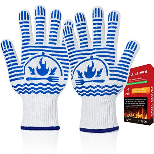 Recoty BBQ Gloves, Flexible Oven Gloves 1472°F Extreme Heat Resistant Grill Gloves, Non-Slip Food Grade Silicone Oven Mitts for Kitchen, Cooking, Barbecue, Baking, Smoker (11inch White, Regular Cuff)