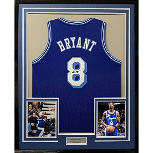 Framed Autographed/Signed Kobe Bryant 33x42 Los Angeles LA Retro Blue Basketball Jersey PSA/DNA COA