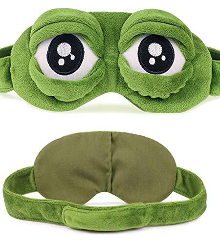 Minasan Lustige Weich Plüsch Sleep Blindfold Eye Mask für Damen und Herren Bequem Kinder 3D Frosch Muster Modellierung Daydream Schlafmaske Augenmaske Augenbinde Schlafbrille