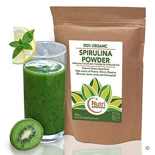 Spiruline en poudre - Protéine végétale végétalienne biologique - Riche en chlorophylle pour détoxifier et plus d'énergie - 500g