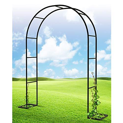 Arco de Jardín, Soporte para Rosales y Plantas, Metal Pulverizado, para Decoración Fiesta de Boda, 180cm/200cm/240cm, Blanco/Negro