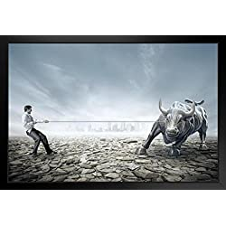 Businessman Tug of War with Bull Stock Market Photo Black Wood Framed Art Poster 20x14