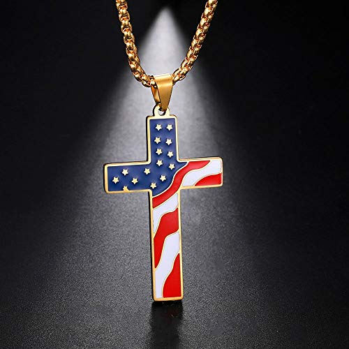 Alushisland American USA Flag Necklaces Baseball Cross Necklace Men Stainless Steel Chain Enamel Jesus Religion Jewelry Amulet Gift