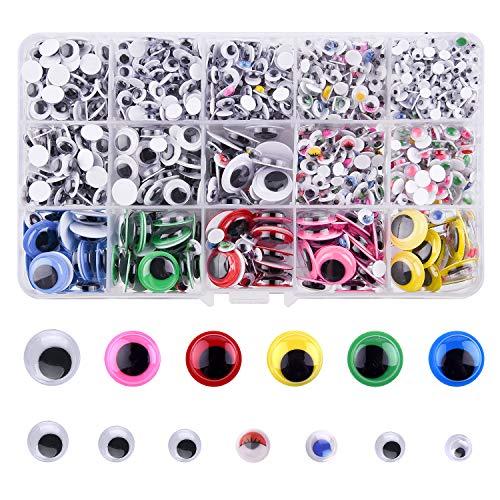 FEPITO 1600Pcs Wiggle Googly Eyes Selbstklebend für Puppen DIY Spielzeug Handwerk Scrapbooking Dekorationen Sortierte Größe