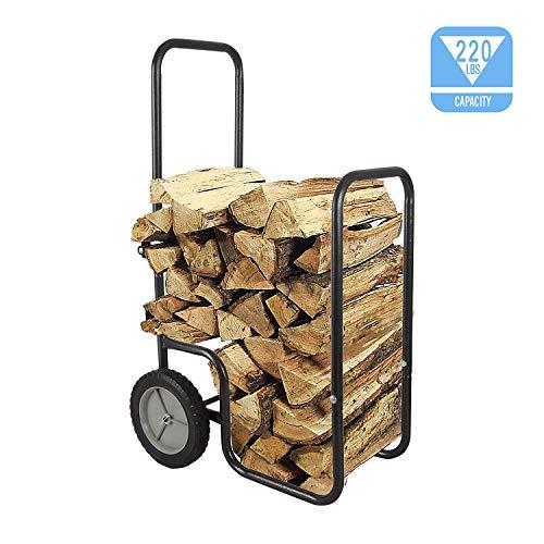 LEADALLWAY Black Firewood Log Cart Carrier, Wood Rack Storage Mover for Outdoor or Indoor