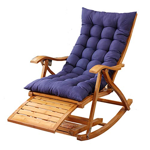 XEWNEGTZI Folding Sun Lounger, Bamboo Rocking Chair, Portable Home Outdoor Garden Old Man Recliner, With Retractable Pedals And Cotton Pad, Load 200kg(Color:Brown + blue pad)