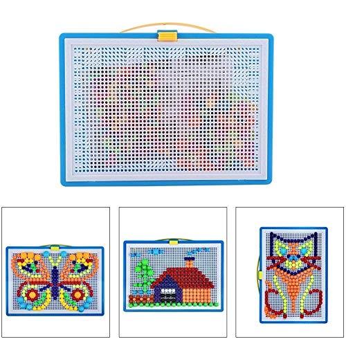 mejores Mosaicos para niños Pegboard Mushroom Nail Jigsaw Peg Puzzle Juego para Niños Niños-Aleatorio Color, 296pcs