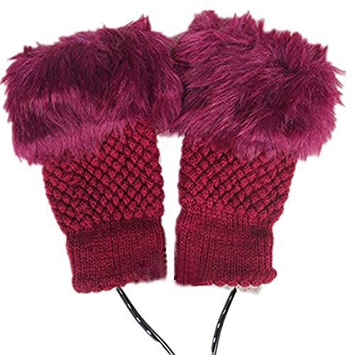1 Pair 2 Pack DECVO Winter Powered Warmer Thicken Fingerless USB Heated Gloves Plush Warm Cold-Proof Knitted Half Finger Laptop Mittens USB Warm Gloves for Women Teen Girls Best Winter Gift (RED)