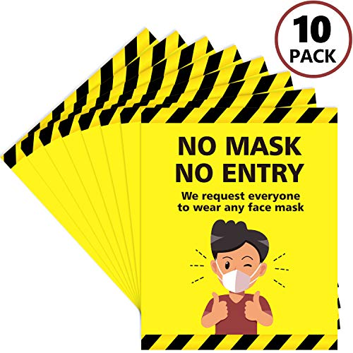 10 Pieces No Mask No Entry Sticker, Request to Wear A Face Mask Before Entering Sign Decal for Doorways, Glass Windows, Public Areas, Stores and Office Walls, 10 x 8 Inch
